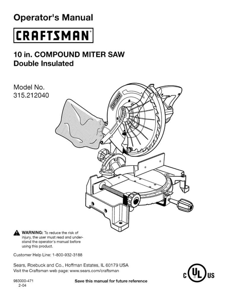 RYOBI MOTOR PRODUCTS 983000-471 Miter Saw Owner's Manual
