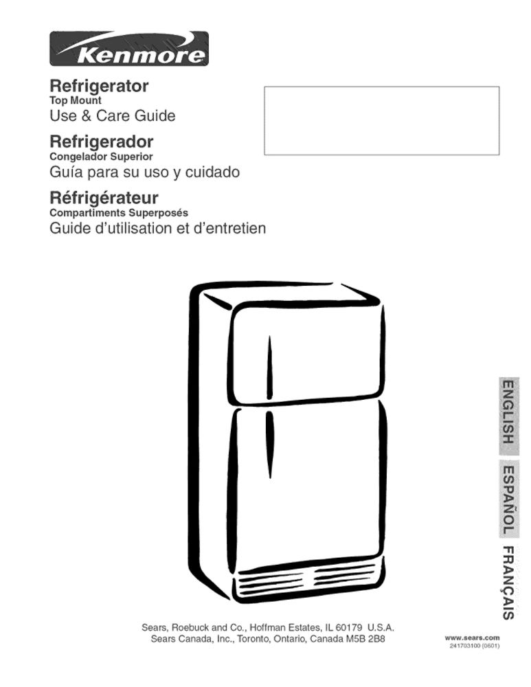 Looking for refrigerator owner's manual 241703100