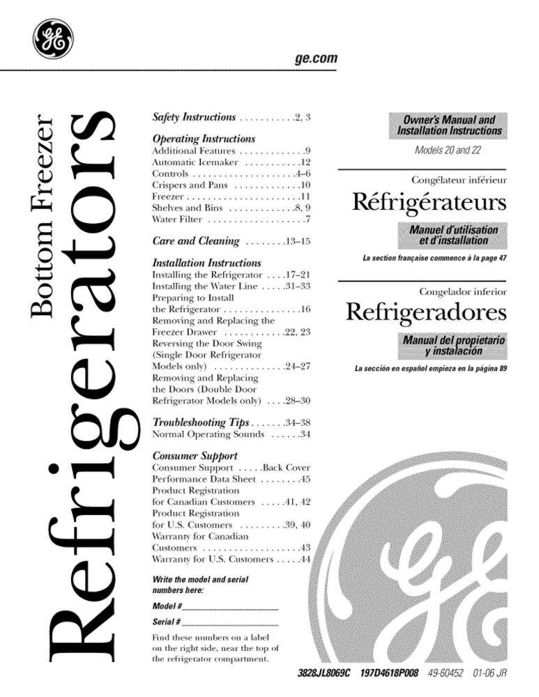 Looking for refrigerator owner's manual 49-60452