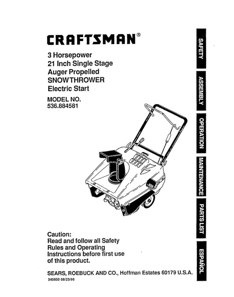 Craftsman 30 Snowblower 342cc Manual