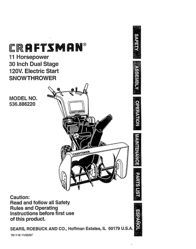 Looking for snowblower owner's manual 761118 replacement
