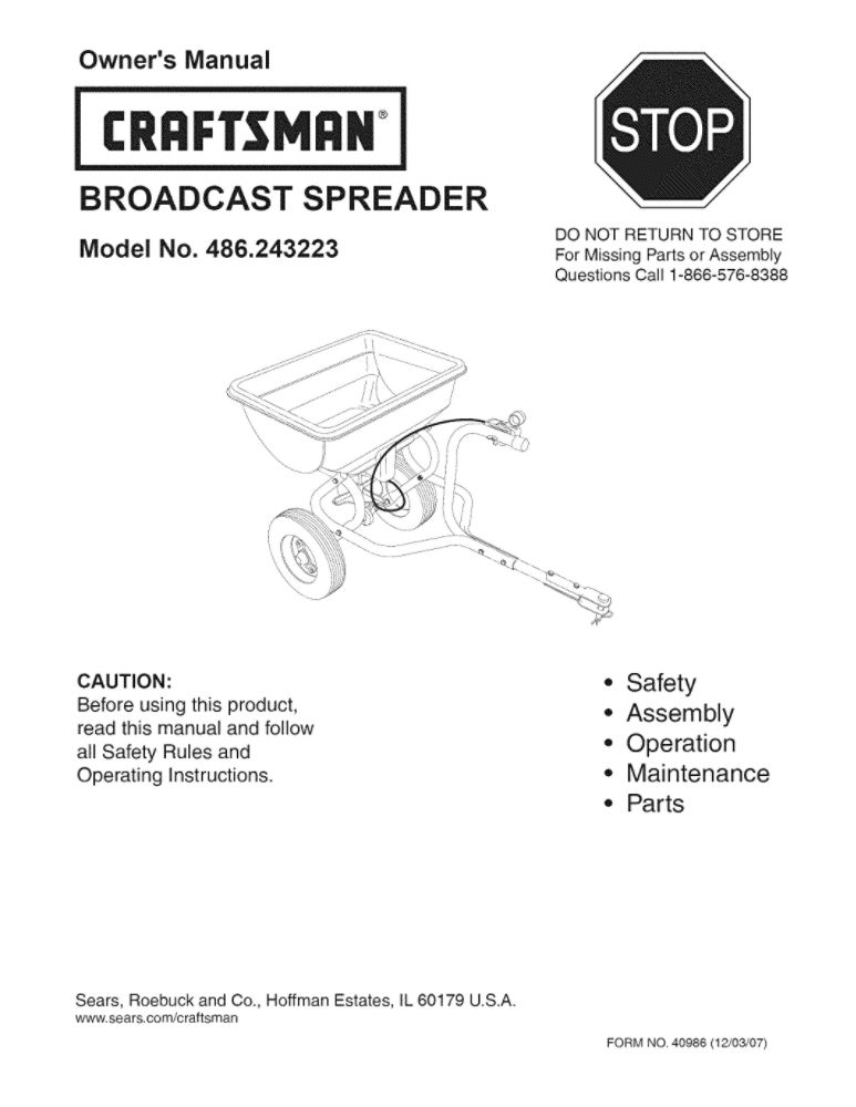 Lawn Tractor Spreader Attachment Owners Manual