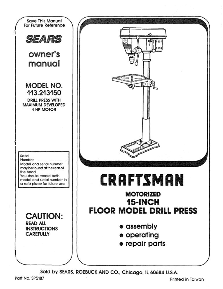 Sears Craftsman Drill Press Parts. Sears. Tractor Engine
