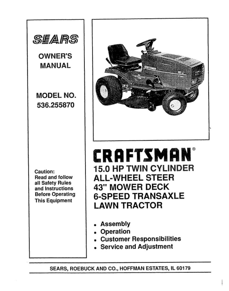 Craftsman 536255870 front-engine lawn tractor manual