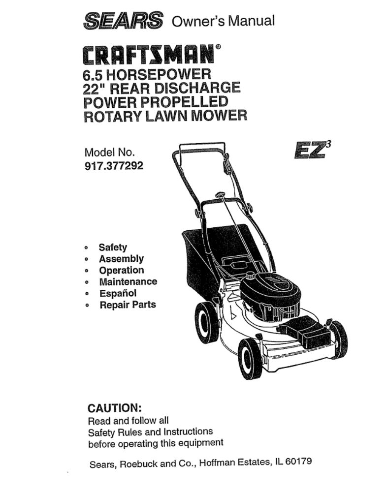 Looking for lawn mower owner's manual 160910 replacement