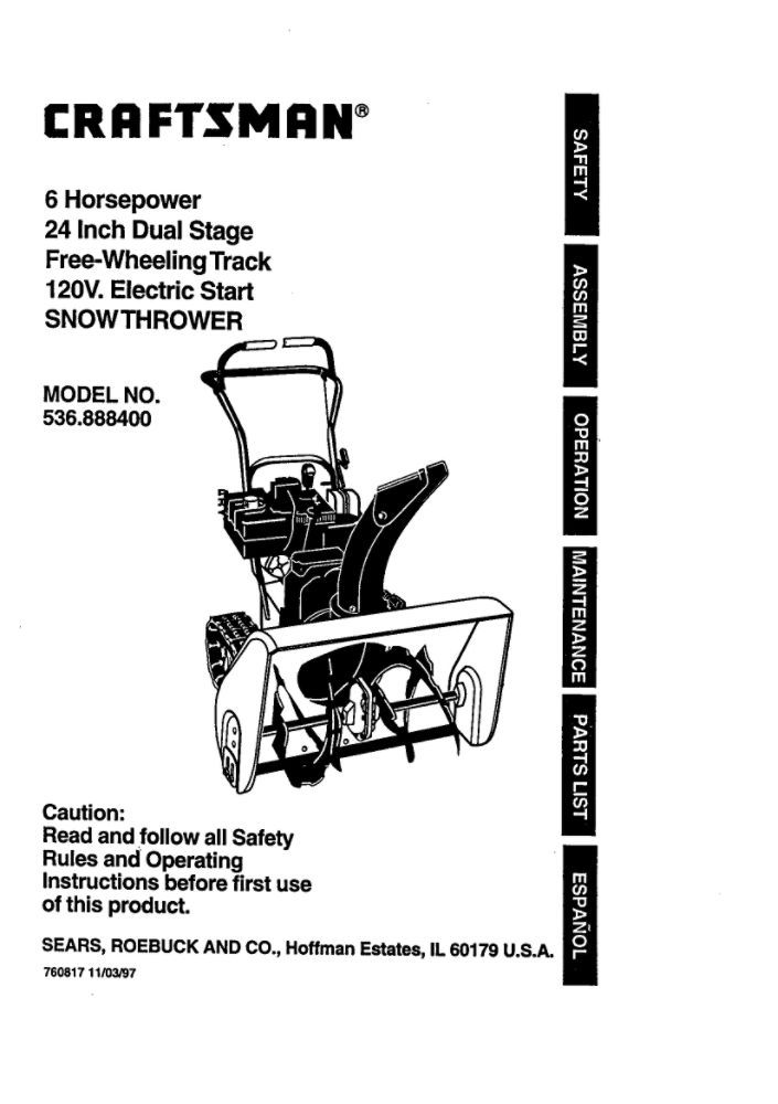 Looking for snowblower owner's manual 760817 replacement