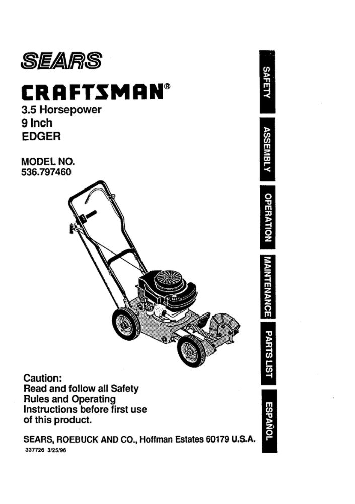 Looking for edger owner's manual 337726 replacement or