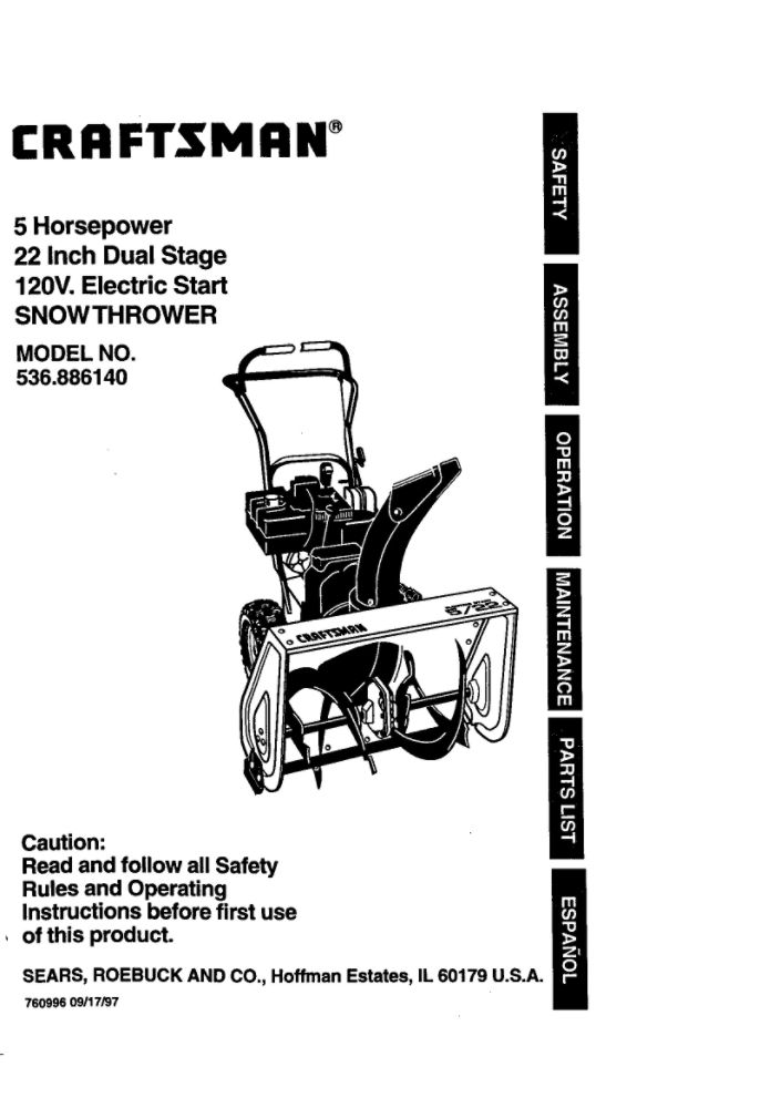 Snowblower Owners Manual 760996