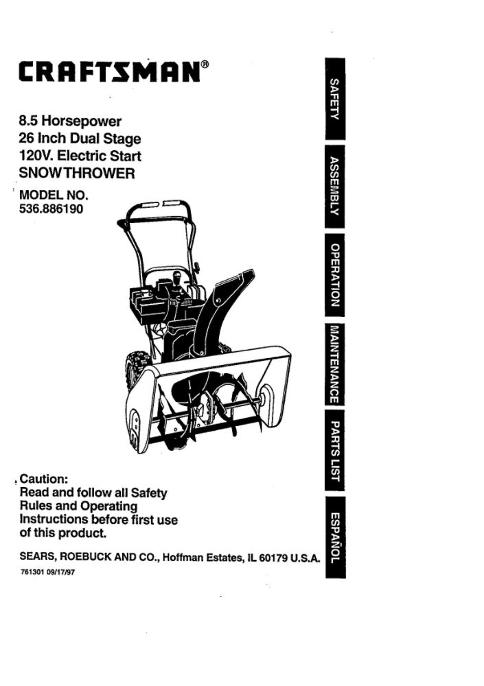 Looking for snowblower owner's manual 761301 replacement