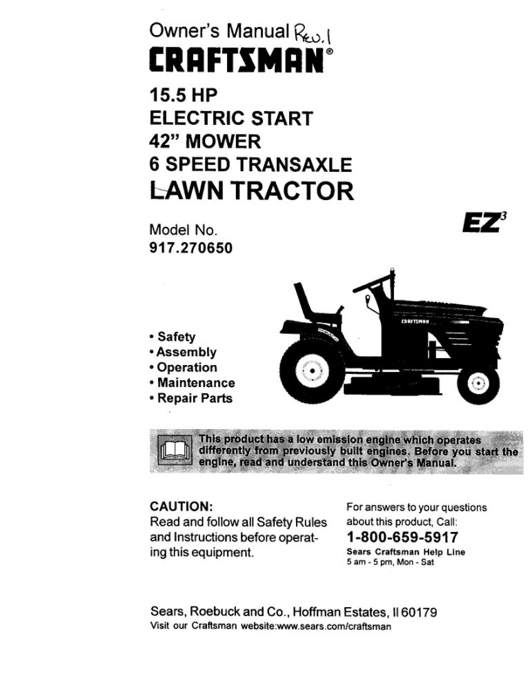 Lawn Tractor Owners Manual