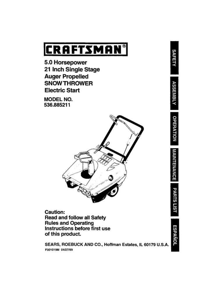 Looking for snowblower owner's manual F-001019M