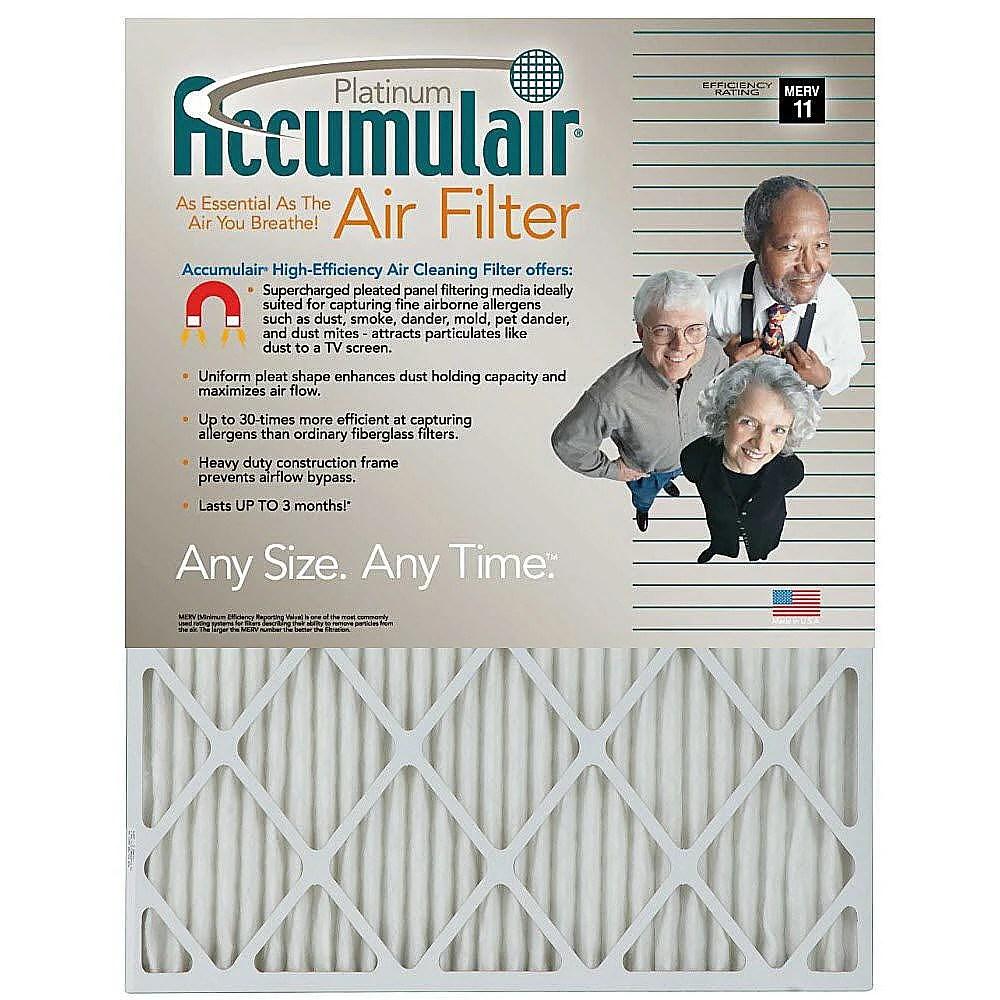 Accumulair Platinum Air Filter 21 x 21 x 1-in 4-pack