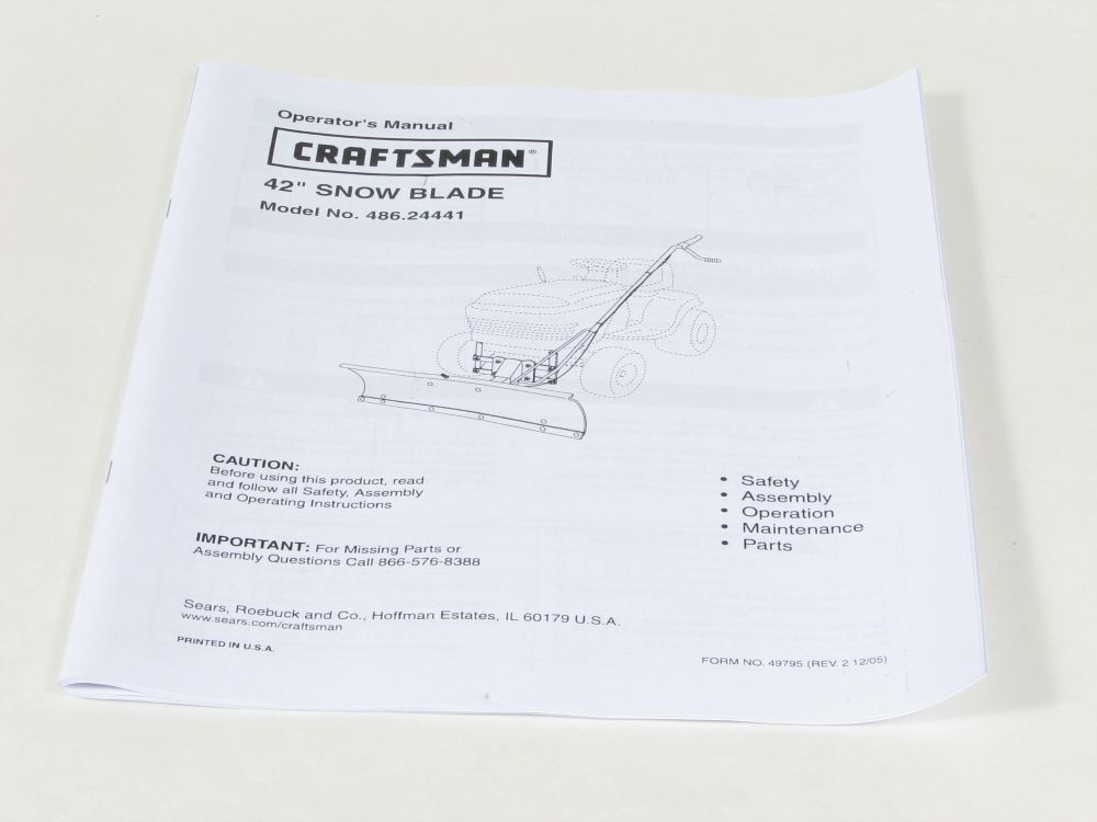 Lawn Tractor Snow Blade Attachment Owner's Manual 49795