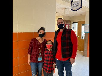Matching!  Second grader Long, Mrs. Weitzel, and Mr. Mullen look great in red plaid!