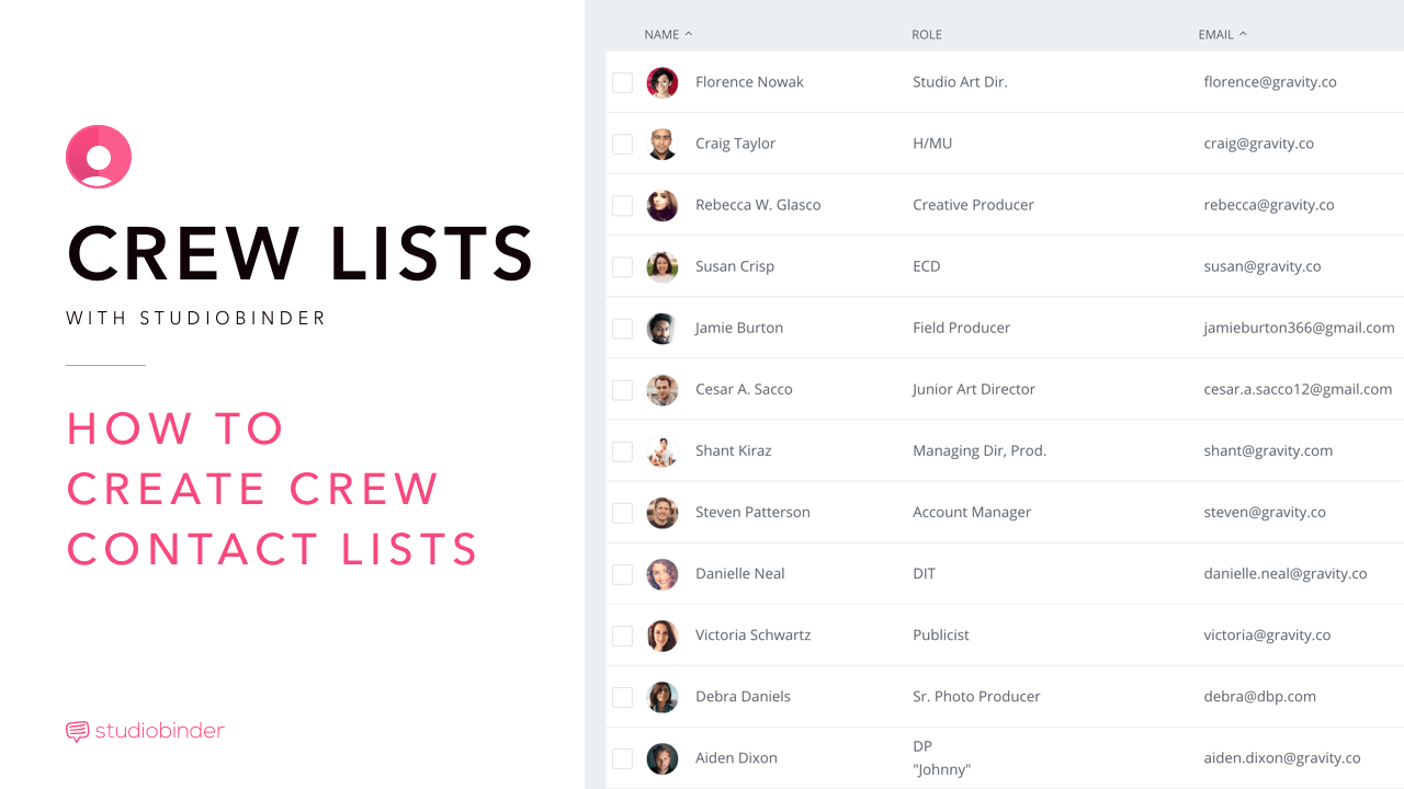 FREE Online Film Production Crew Contact List Template
