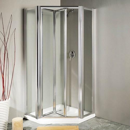 standard kitchen cabinets shelf organizers pentagon framed shower enclosure, bi-fold door & tray ...