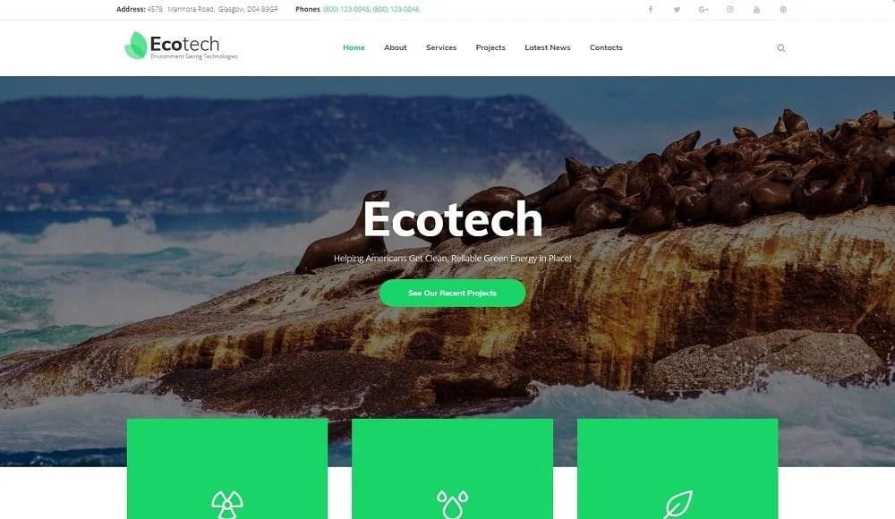 EcoTech - Environment Saving Technologies WordPress Theme