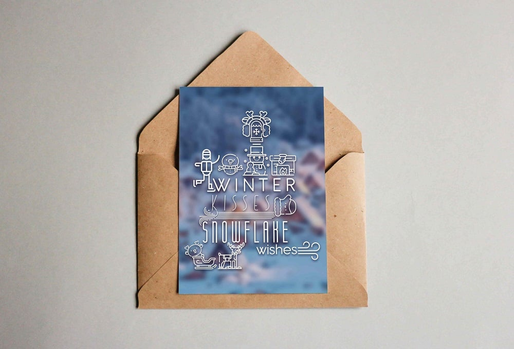 Winter Typography PostCard