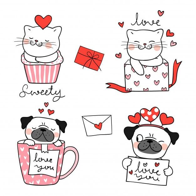 draw portrait-cute cat pug dog valentine