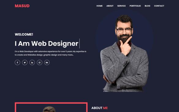 Masud Personal Portfolio Landing Page Template
