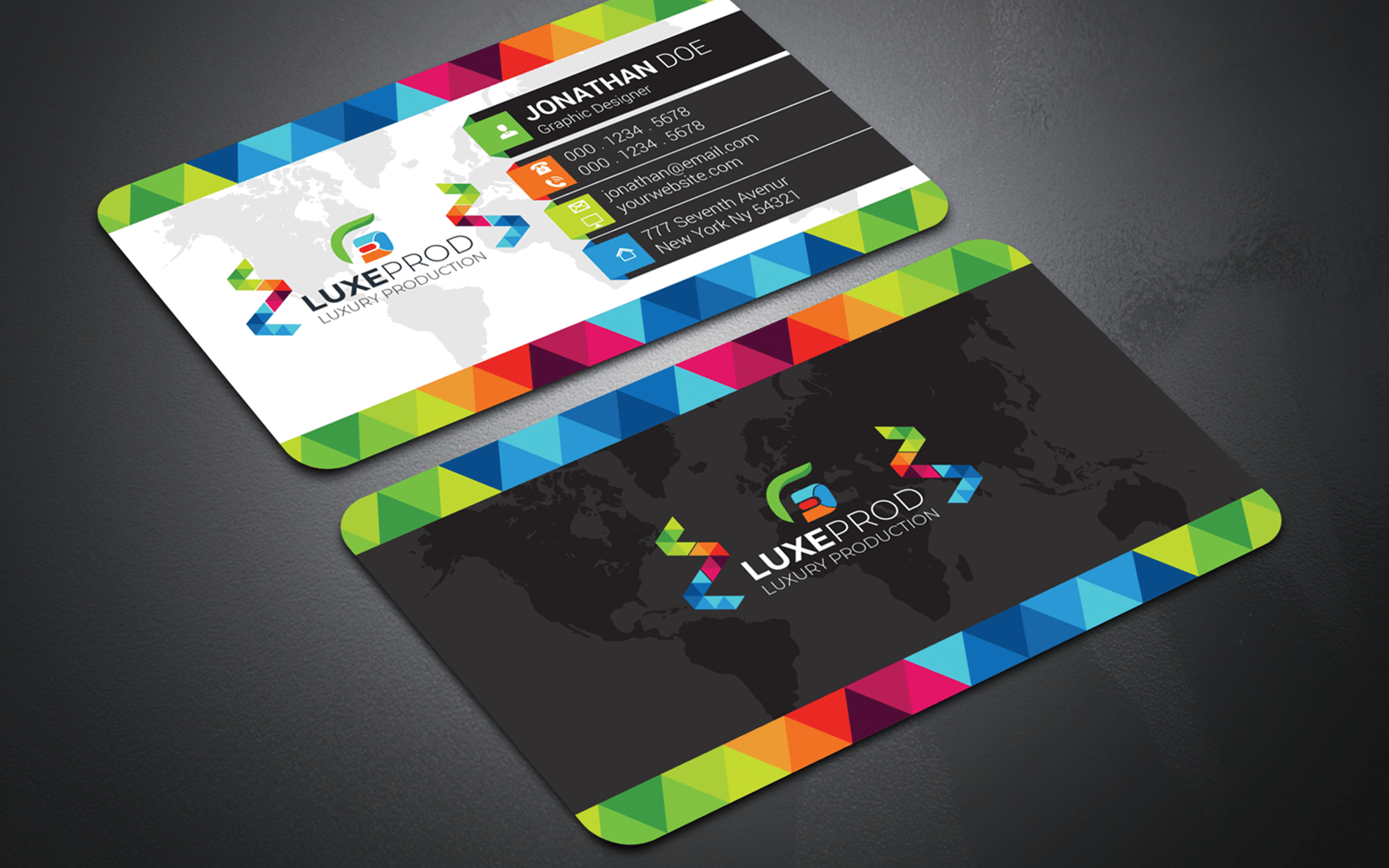 Colorful Gradient Triangle Design Business Card Template