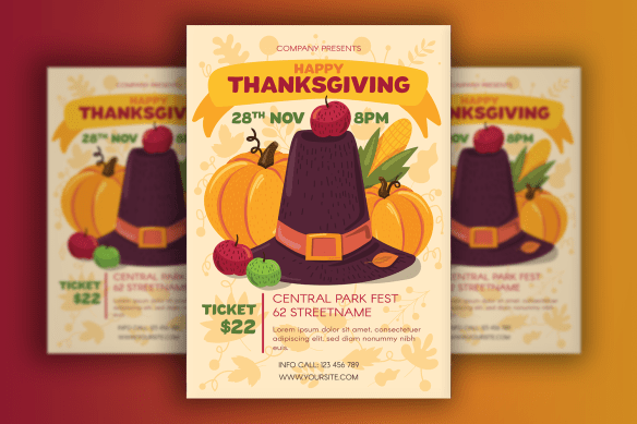 Thanksgiving Poster With Pilgrim Hat Template