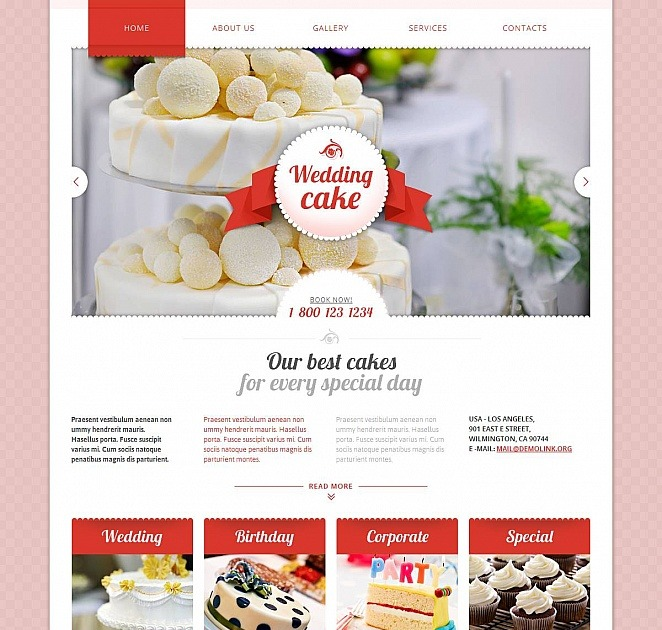 Wedding Cakes Website Template With Pink Background Motocms