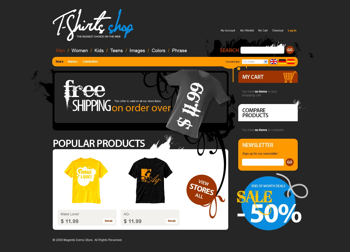 T Shirt Shop Magento Theme