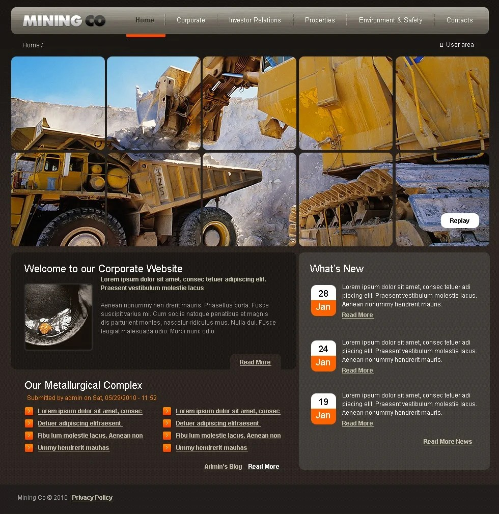 Mining Company Drupal Template 28998