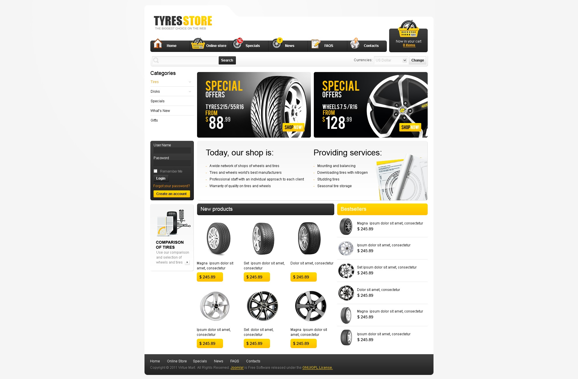 Wheels & Tires VirtueMart Template #34100