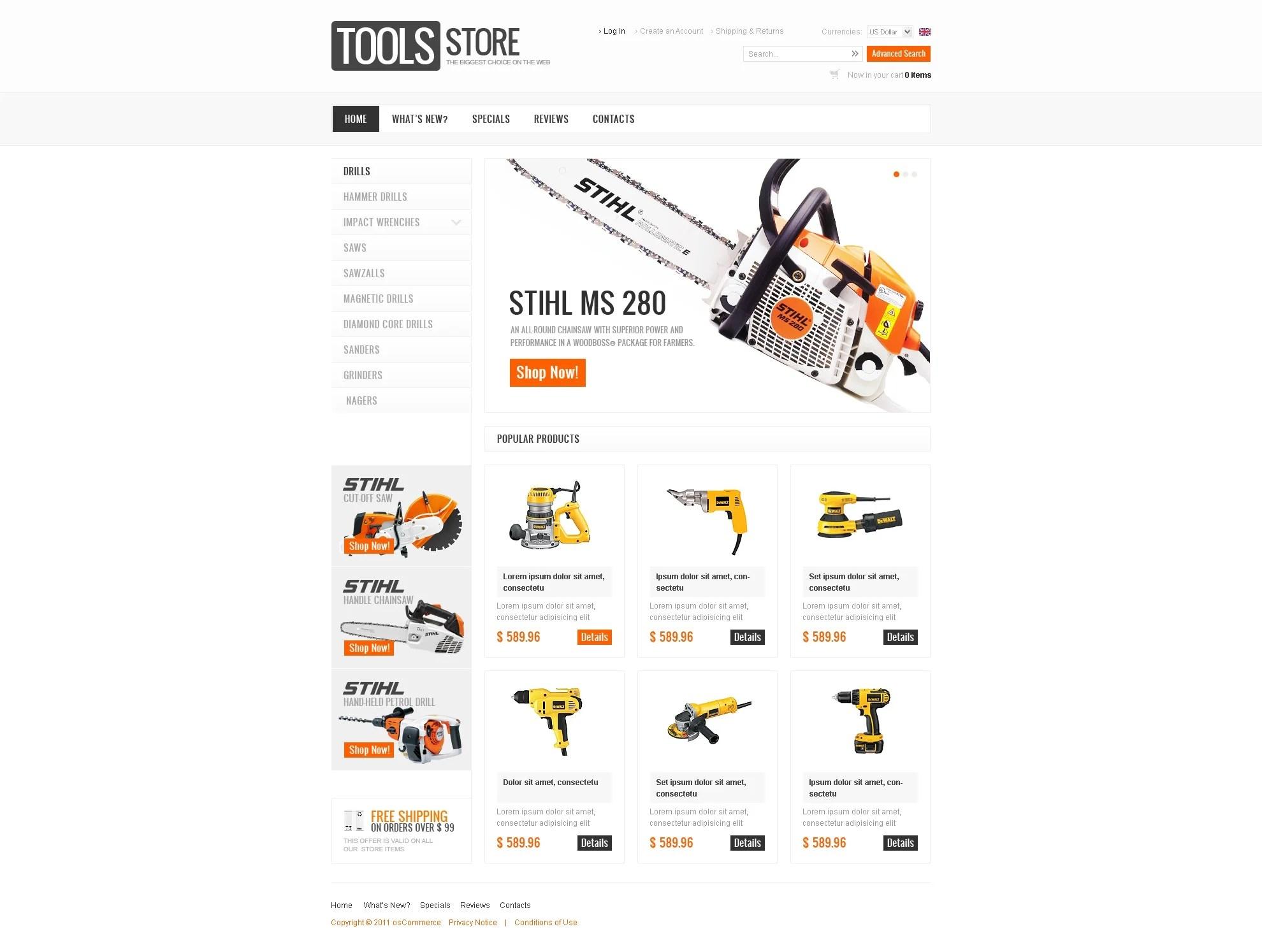 Tools & Equipment OsCommerce Template #34296