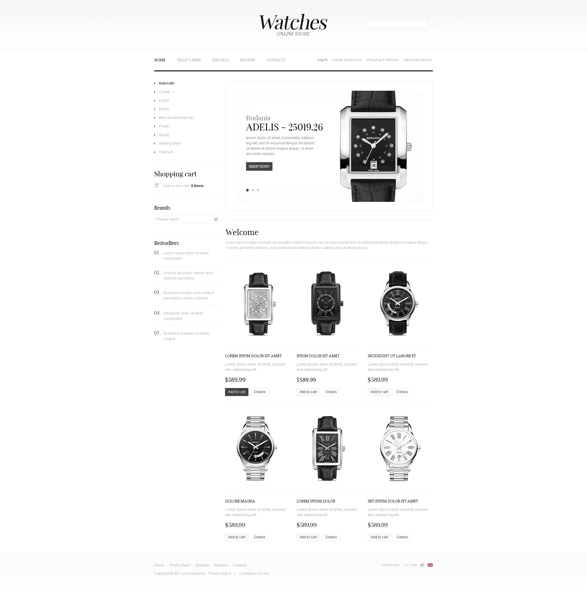 Watches OsCommerce Template #34683