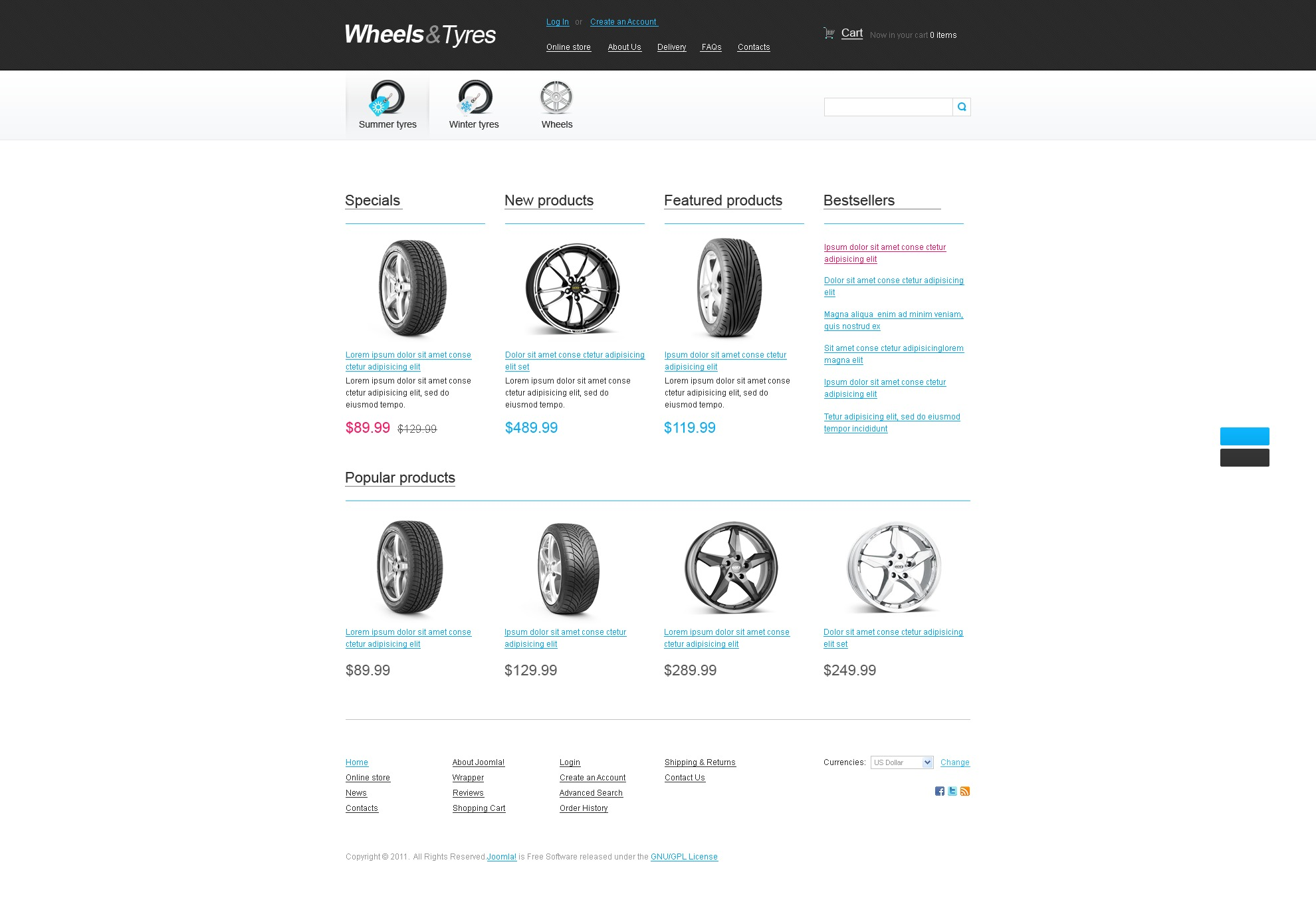 Wheels & Tires VirtueMart Template #36145