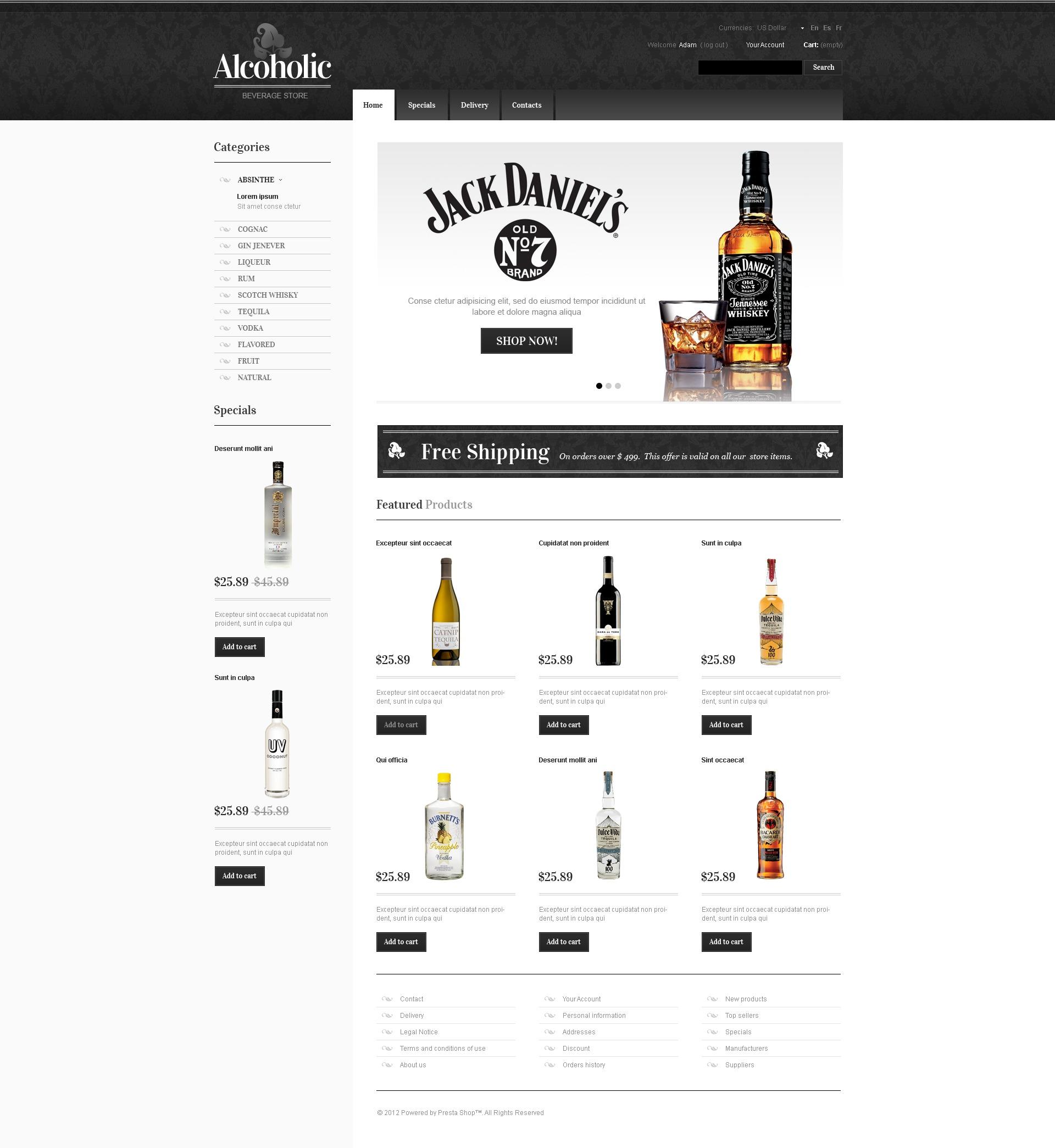 Aristocratic Alcohol OsCommerce Template #41328