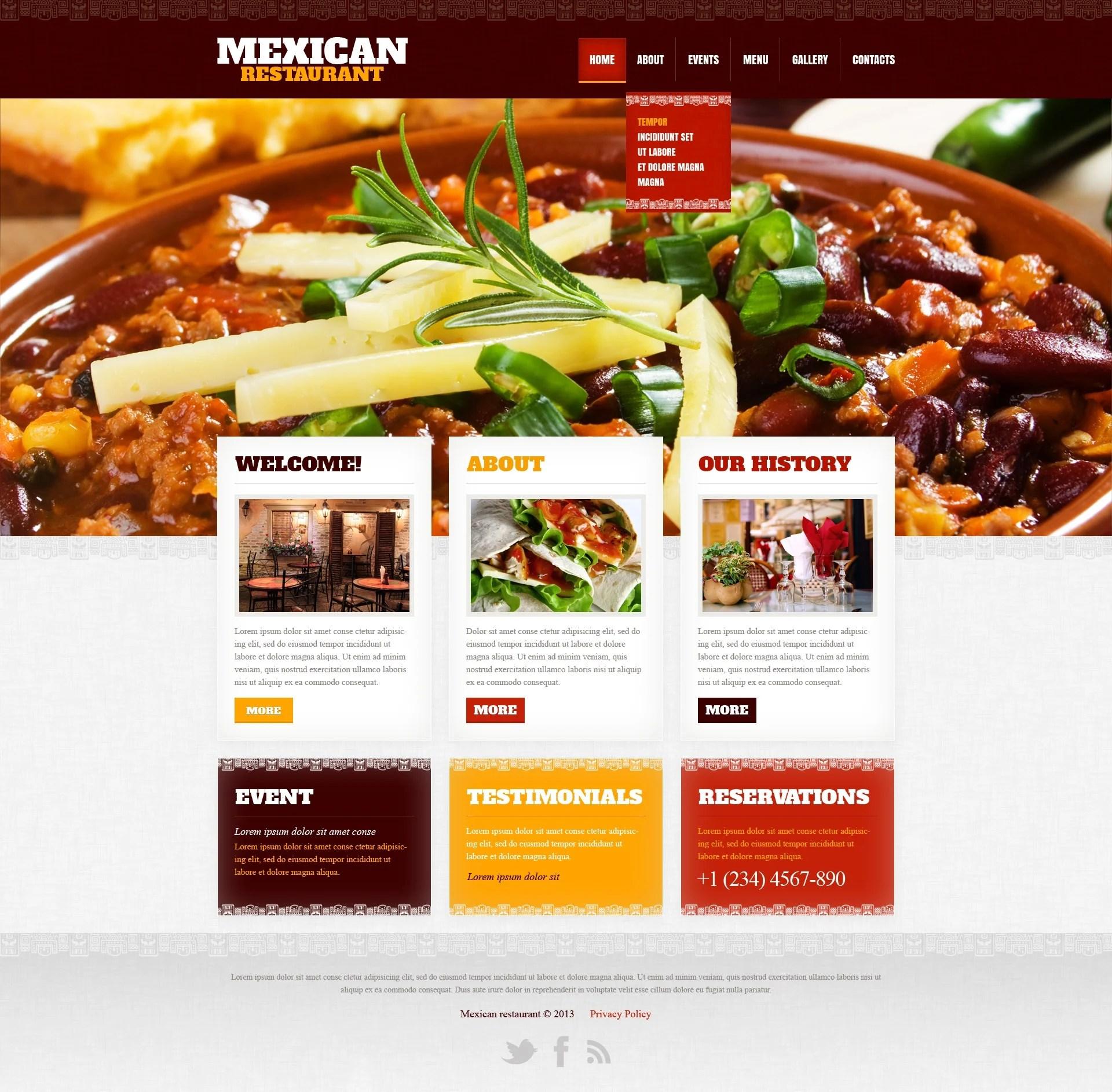 Mexican Restaurant Website Template #42181