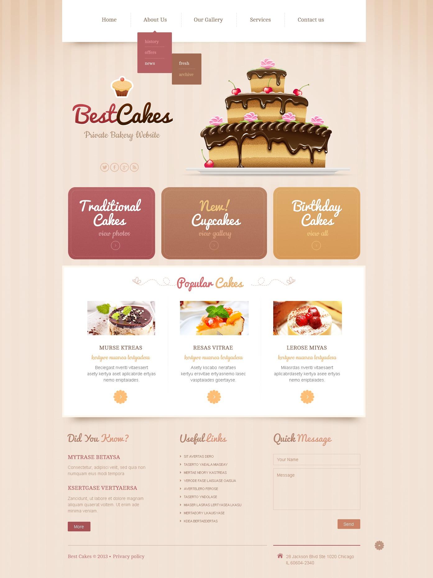 Bakery Responsive Website Template 43645