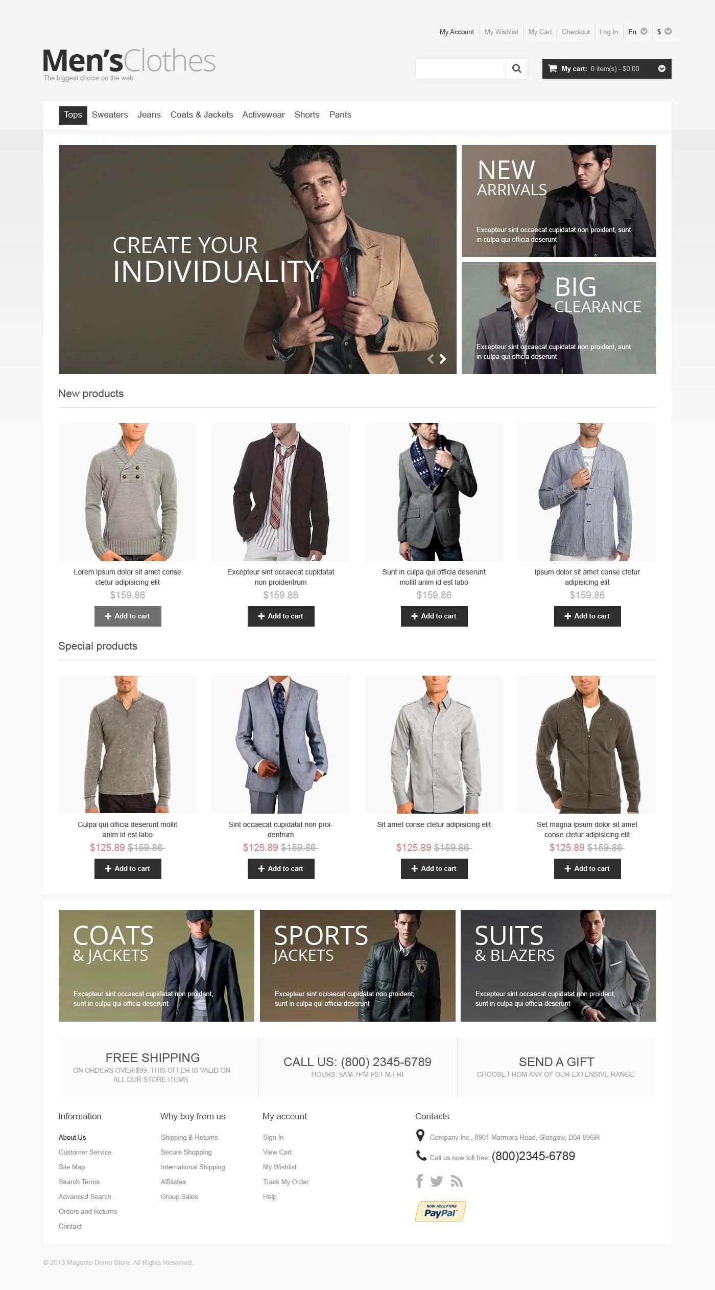 Mens Clothes Magento Theme 46335