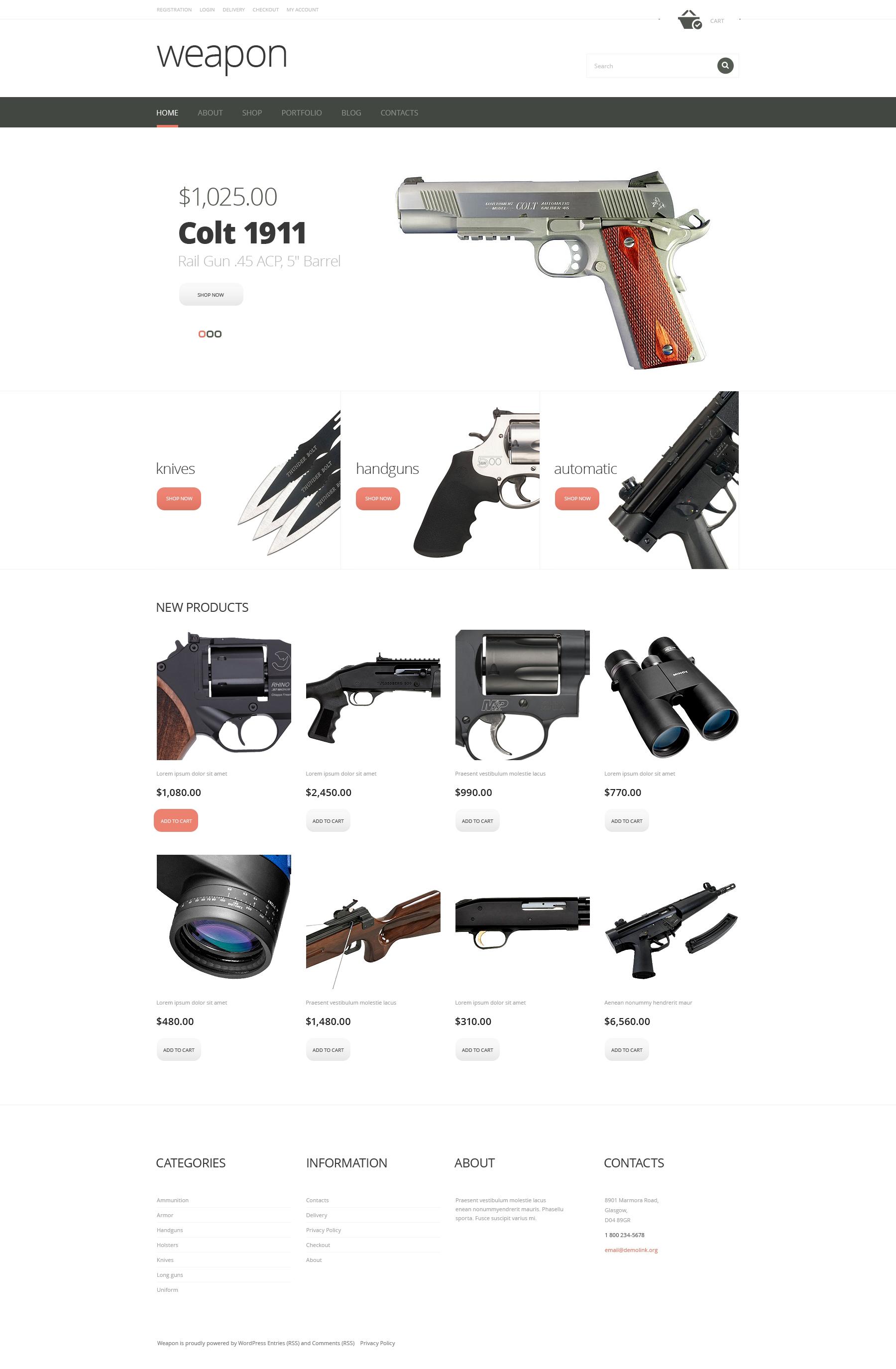Firearms Advertizing WooCommerce Theme #47857
