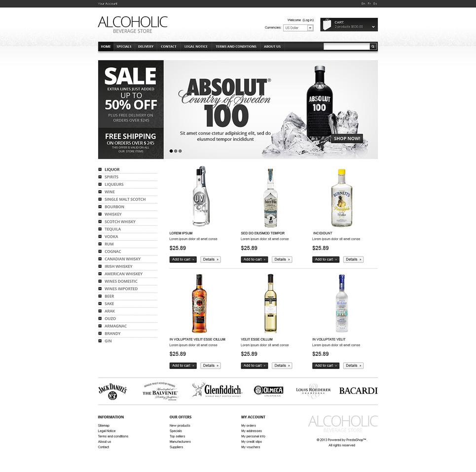 Food & Drink OsCommerce Template #47988