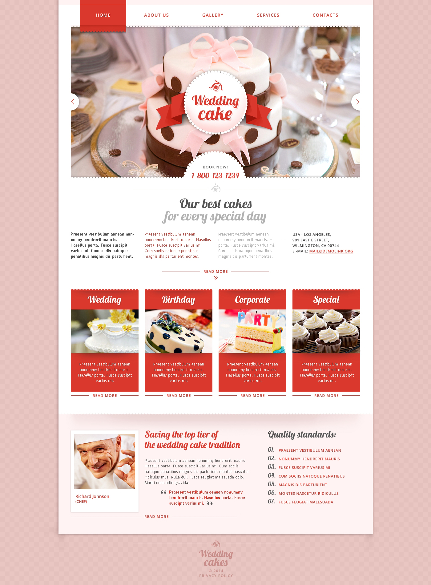 Wedding Cake Responsive Website Template 48177