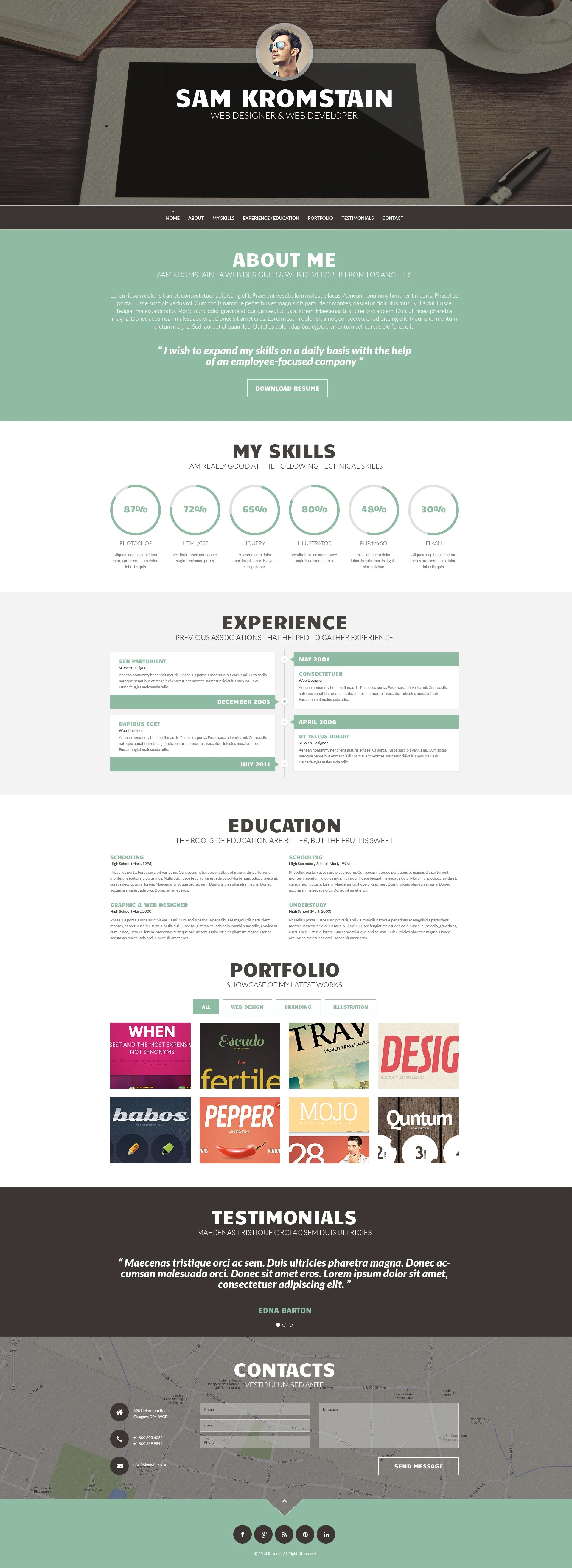 Wordpress Resume Themes Web Developer Cv Wordpress Theme 49157