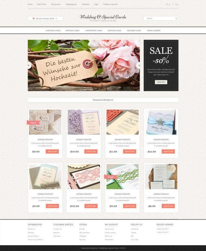 Wedding Cards Opencart Template