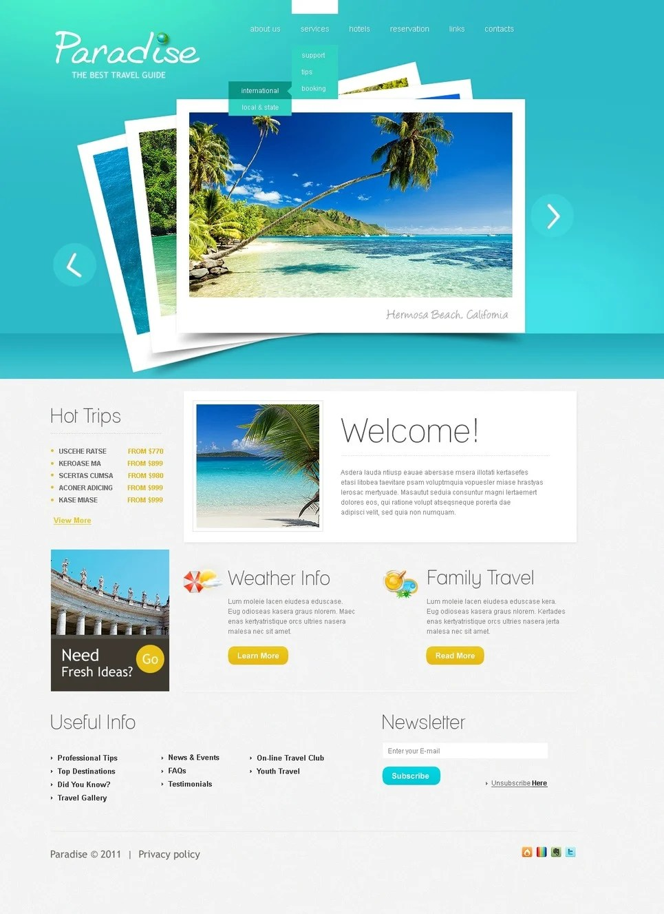 Travel Guide PSD Template 57130