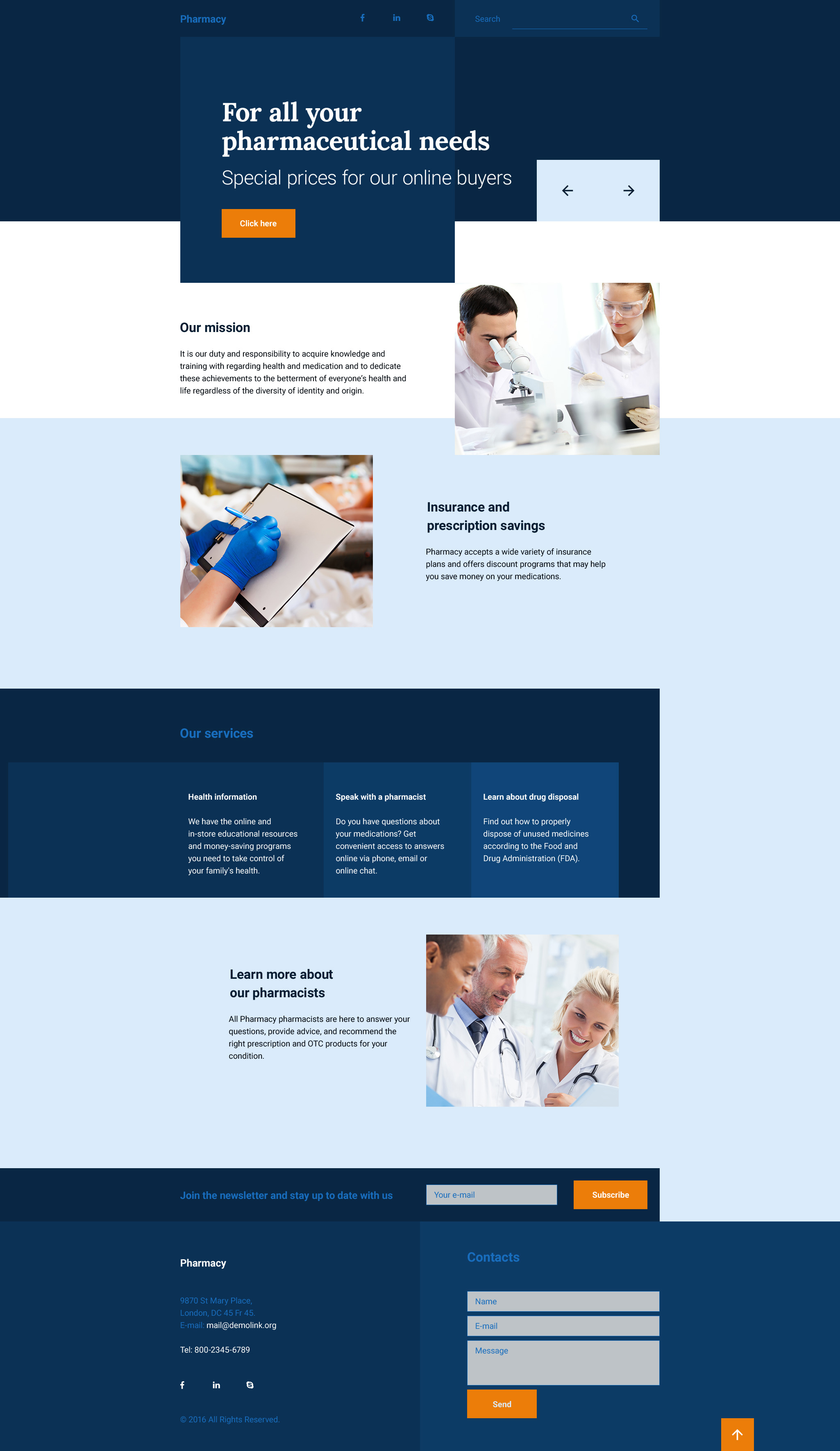 Drug Store Responsive Landing Page Template 58194
