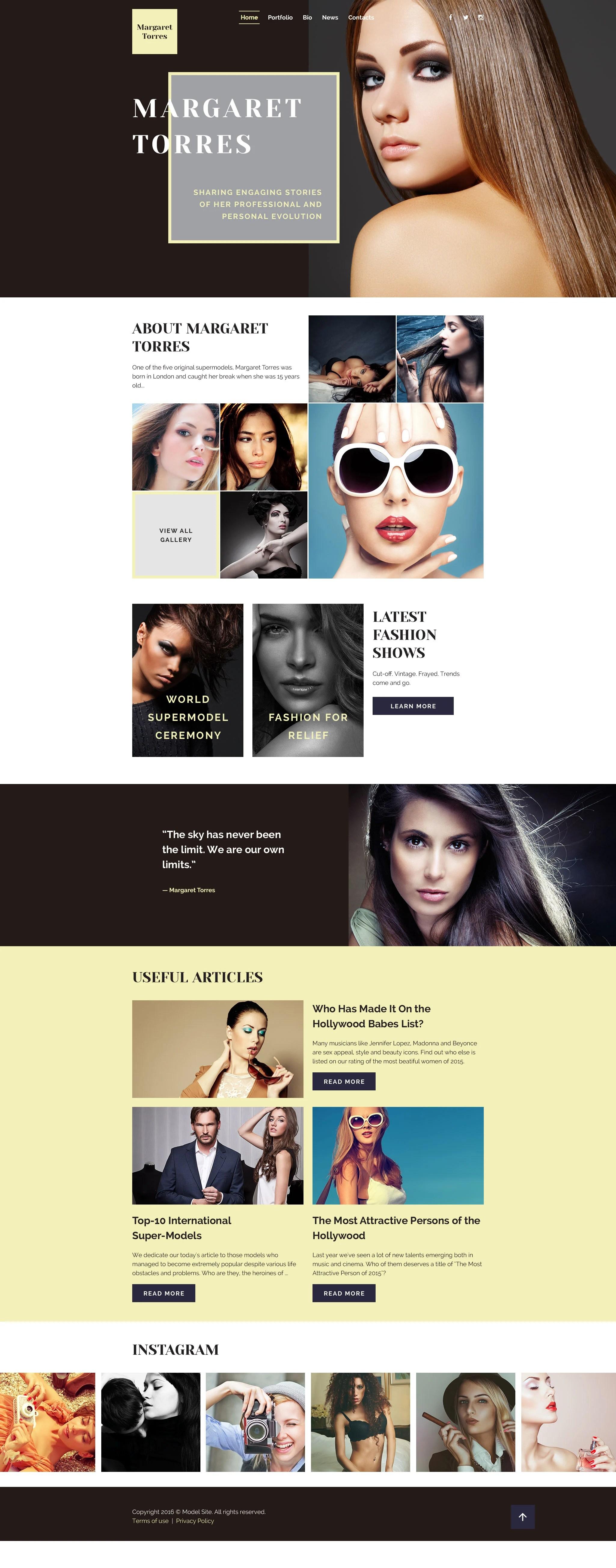 Model Portfolio Web Template