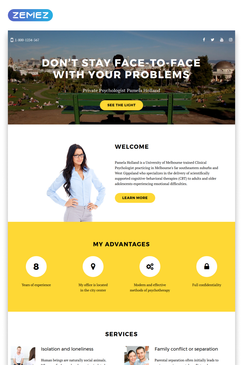 Psychologist Responsive Landing Page Template 58162