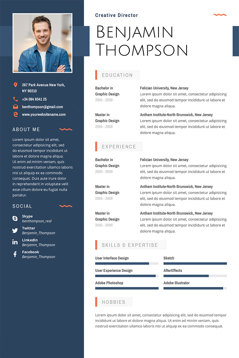 Prémium Benjamin Thompson Multipurpose Elegant Resume