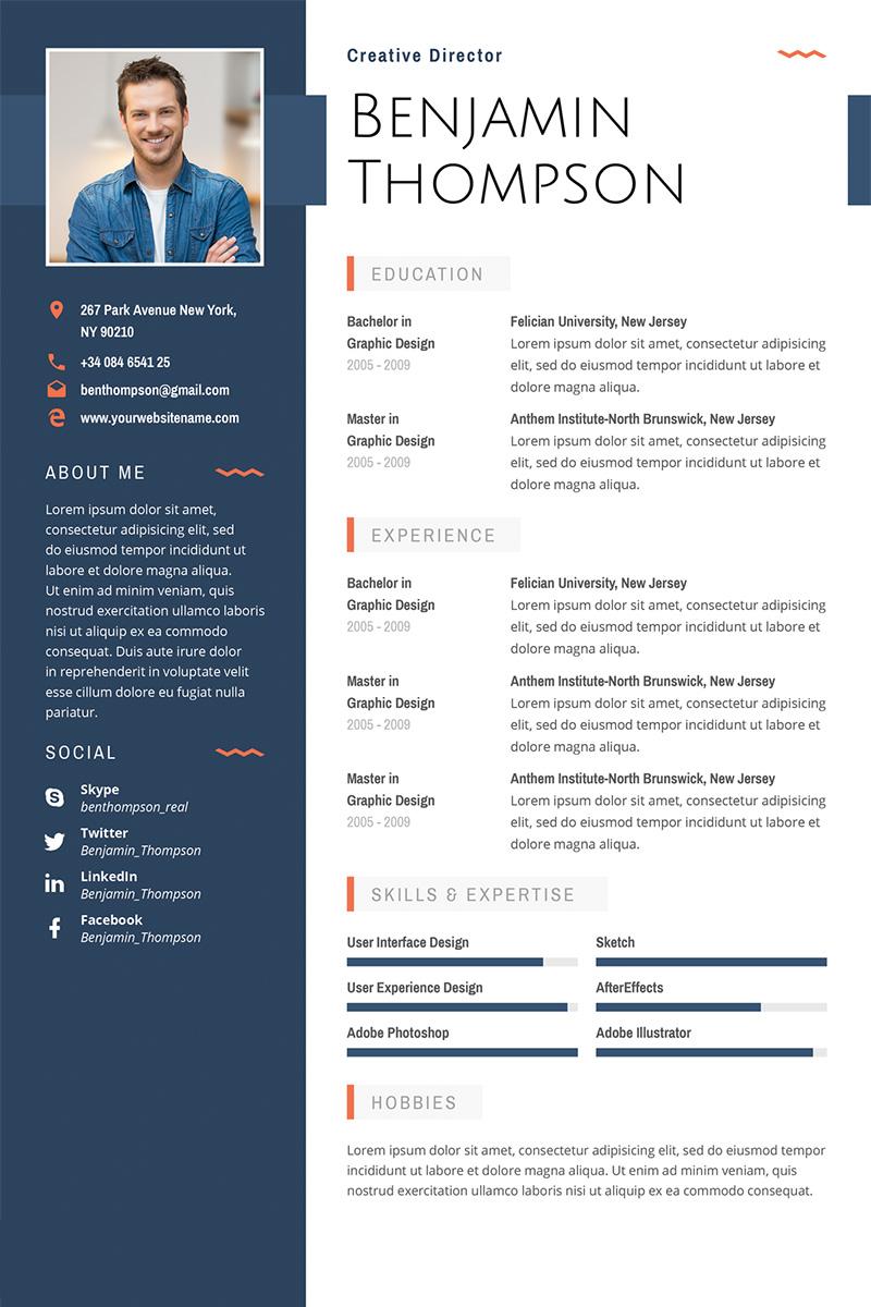 Luxusn Ablona Pro Ivotopis QuotBenjamin Thompson Multipurpose Elegant Resume Templatequot 64872