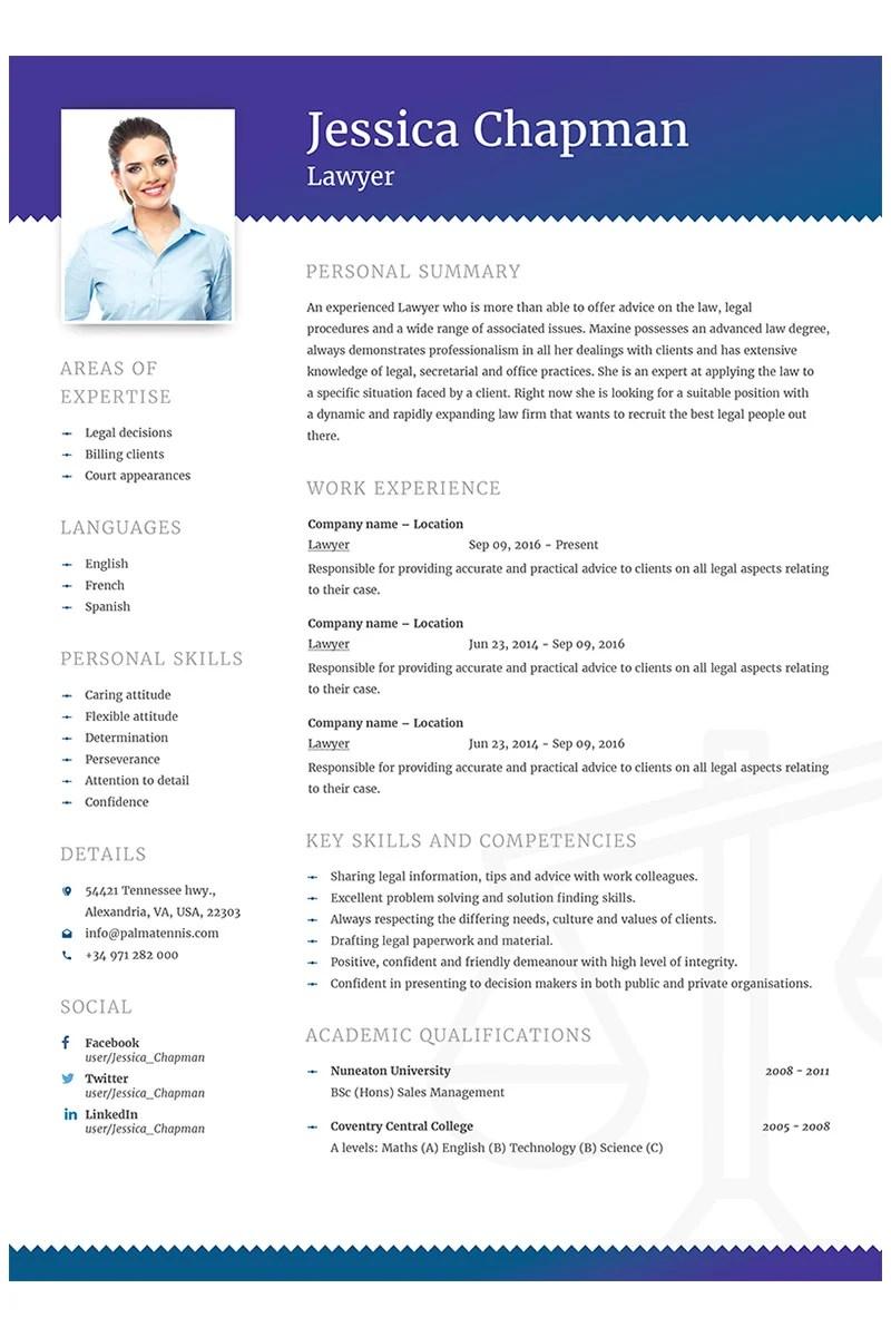 Jessica Chapman Lawyer CV Resume Template #64868