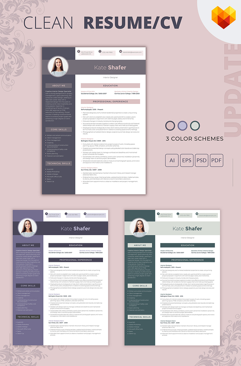Kate Shafer Interior Designer Resume Template #65249